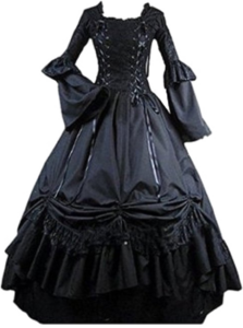 Black Square Collar Gothic Victorian Prom Dress